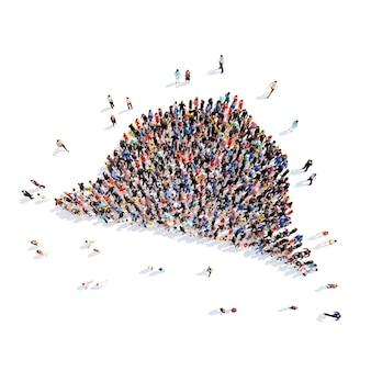 모자 셜록 홈즈 격리 된 흰색 배경의 형태로 사람들의 큰 그룹