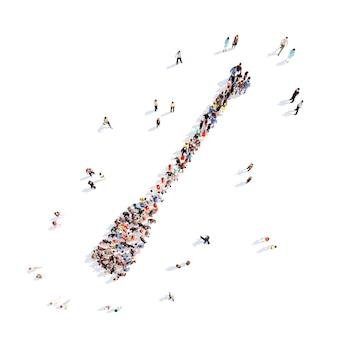 オールの形で人々の大規模なグループ孤立した白い背景