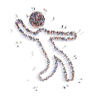 Большая группа людей в форме танцующего человека. изолированный.