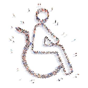 Большая группа людей в форме инвалида в инвалидной коляске. изолированный.