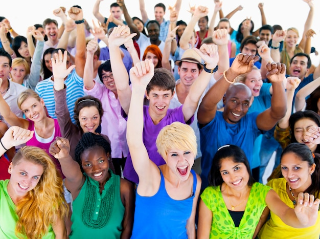 Large group of people of diverse ages and nationalities