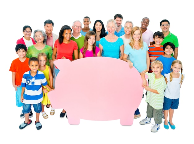 Large group of people holding piggy bank