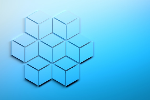 Large hexagon made of seven smaller hexagons composed of rhombuses.