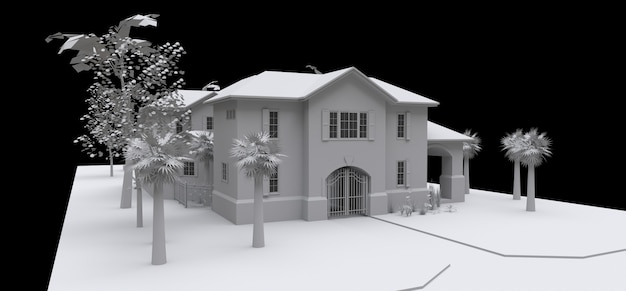 庭とプールのある大きな家。黒の背景に白の3 dモデル