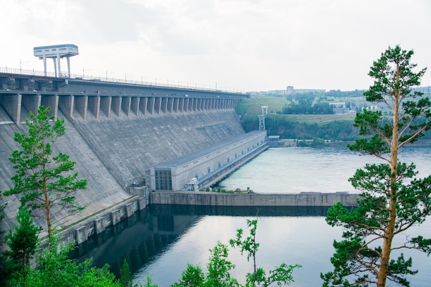 Large hydroelectric power plant in the riverbed. alternative renewable energy source