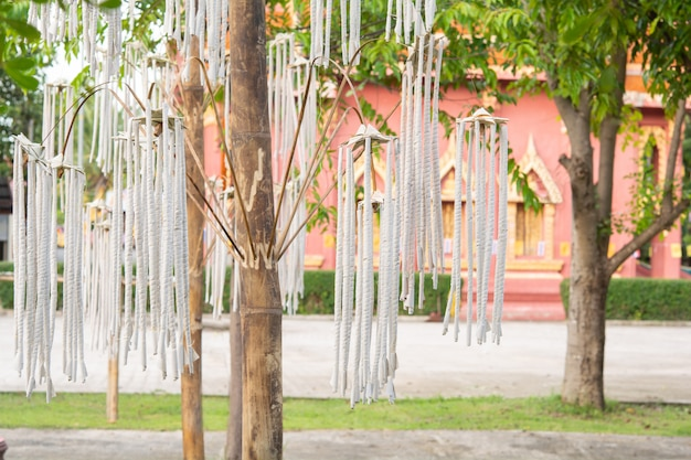 Large incense sticks, crafts of villagers and bamboo in temples and traditions.