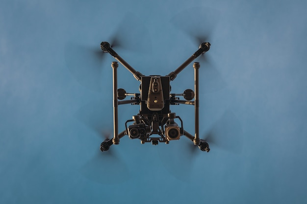 Large industrial drone with thermal camera. bottom view