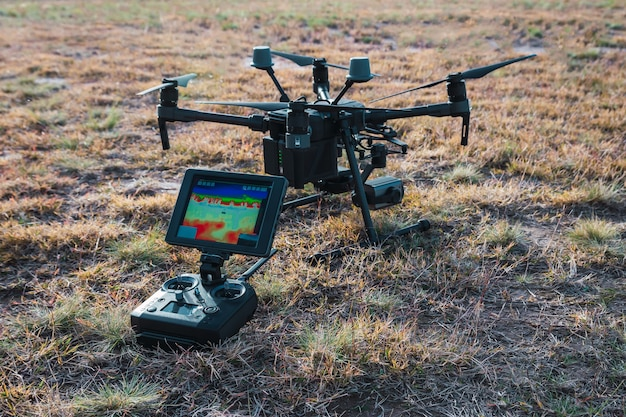 Large industrial drone with thermal camera.