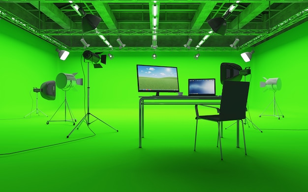 Large interior of modern film studio with green chroma key