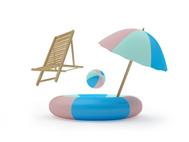 Большой спасательный круг с пляжным зонтом и летающим шезлонгом