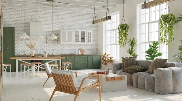 Большая гостиная с кирпичной белой стеной, деревянной мебелью и множеством растений. 3d визуализация в промышленном стиле лофт