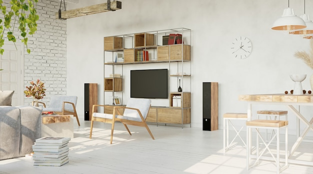 Large living room with white walls loft style 3d render