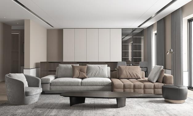 Большой роскошный современный интерьер гостиной