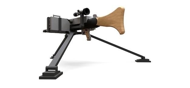 흰색 배경에 전체 카세트 탄약이 있는 삼각대에 있는 대형 기관총. 3d 그림입니다.