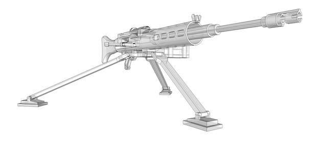 白い背景にフルカセット弾薬を備えた三脚の大型機関銃。半透明のボディを持つ等高線の武器の概略図。 3dイラスト。