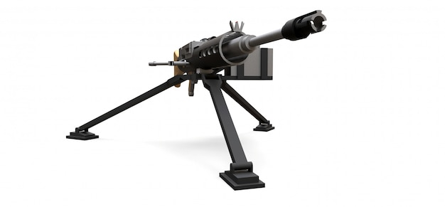Large machine gun on a tripod with a full cassette ammunition on a white background. 3d ilustration.