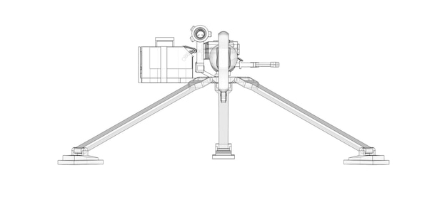 Large machine gun on a tripod with a full cassette ammunition on a white background. schematic illustration of weapons in contour lines with a translucent body. 3d ilustration.