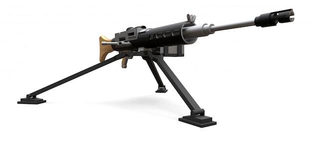 Large machine gun on a tripod with a full cassette ammunition