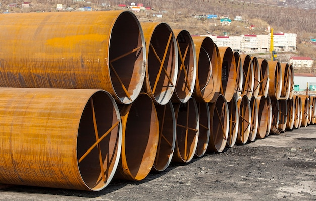 Large metal pipes on the ground on kamchatka