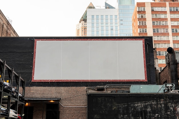 Large mock-up billboard on a building