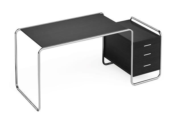 흰색 바탕에 서랍이 있는 큰 현대적인 빈 나무 사무실 테이블입니다. 3d 렌더링.