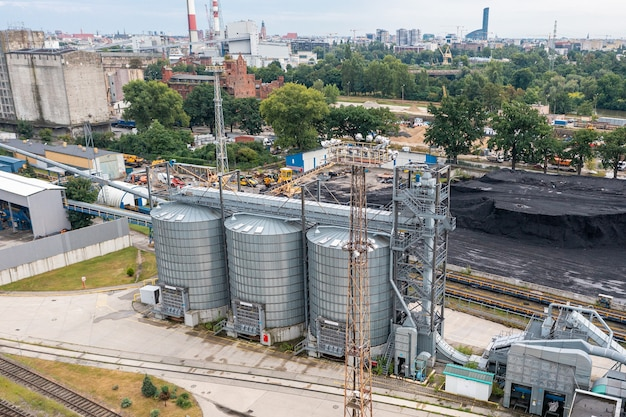 Large modern plant for storage and processing of grain crops.