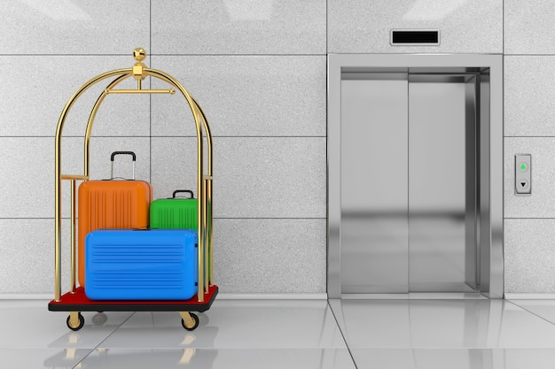 Large multicolour polycarbonate suitcases in golden luxury hotel luggage trolley cart in front of modern elevator or lift with metal doors in hotel building extreme closeup. 3d rendering