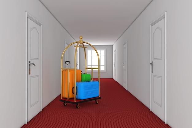골든 럭셔리 호텔 수화물 트롤리 카트의 대형 다색 폴리카보네이트 여행가방은 호텔 건물 복도에 극단적으로 닫혀 있습니다. 3d 렌더링