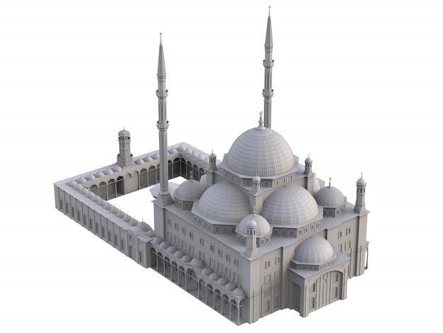 A large muslim mosque, three dimensional raster with contour lines highlighting the details of construction