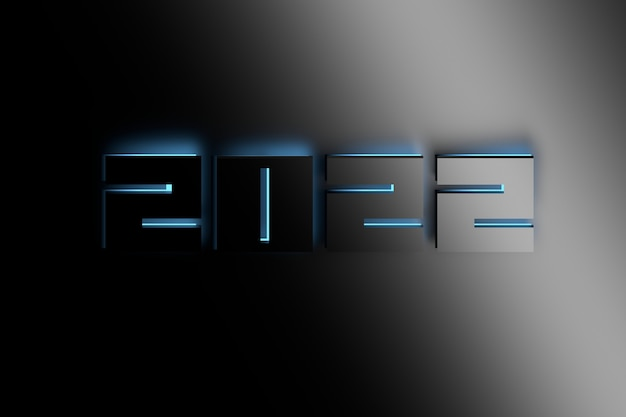 Large new year 2022 number illuminated by blue light. 3d illustration.