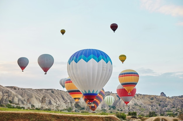 Large number of balloons fly in morning in the sky