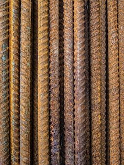 A large number of fittings. rusty iron rods for construction. strengthening of concrete structures