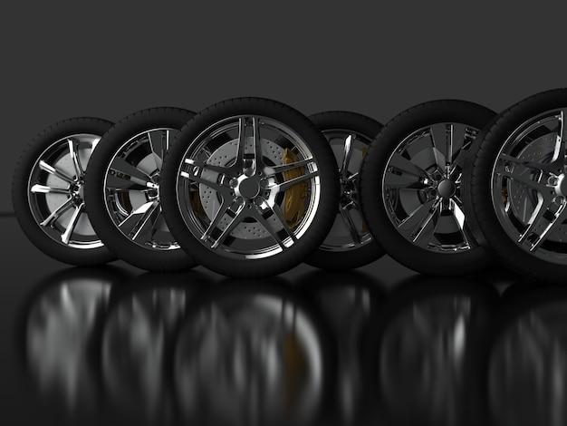 크롬 테두리가있는 많은 수의 자동차 바퀴 3d 렌더링
