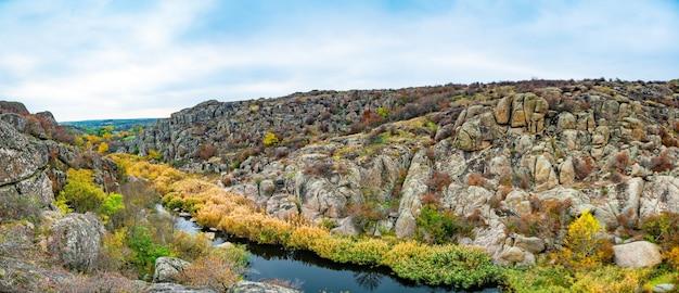 絵のように美しいウクライナとその美しい自然の小さな川の上に横たわる緑の植物で覆われた多数の石の鉱物