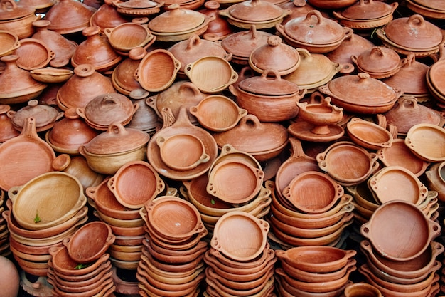 Large number of pottery sold in streets of morocco