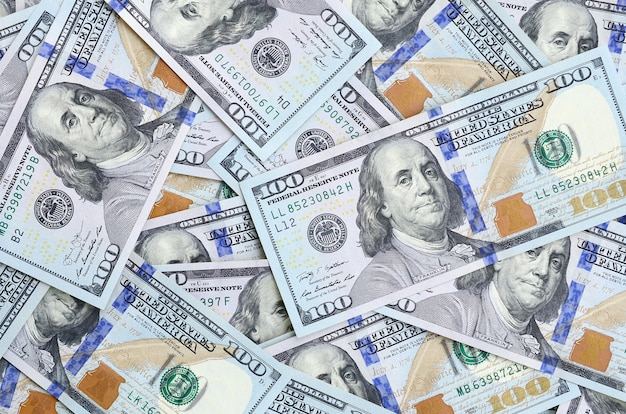 A large number of us dollar bills of a new design