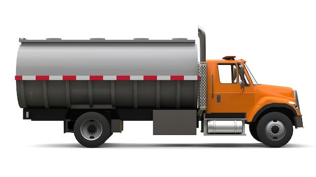 광택이 나는 금속 트레일러가 달린 대형 주황색 트럭 유조선. 모든 측면에서 볼 수 있습니다. 3d 그림.