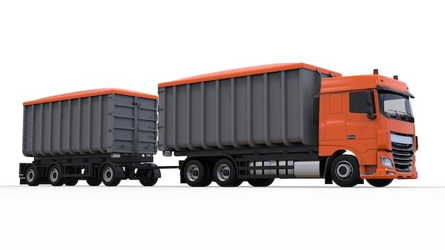 Большой оранжевый грузовик с отдельным прицепом для перевозки сельскохозяйственных и строительных сыпучих материалов и продуктов. 3d-рендеринг.