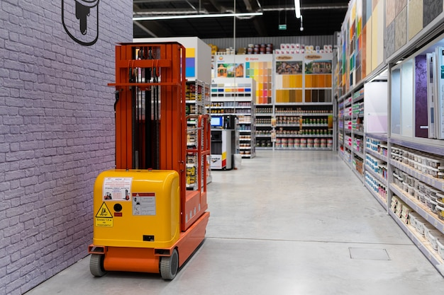 A large paint shop with a large selection of products from many manufacturers of different colors.