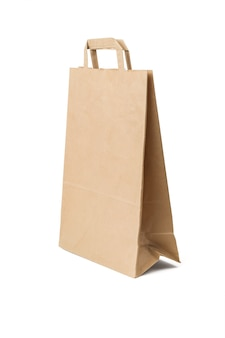 A large paper bag for products isolated on a white background.