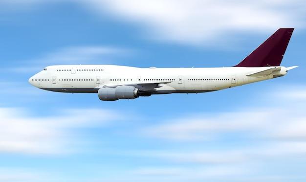 空を高速で飛ぶ大型旅客機。