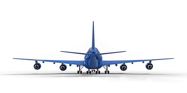 Large passenger aircraft of large capacity for long transatlantic flights blue on white background