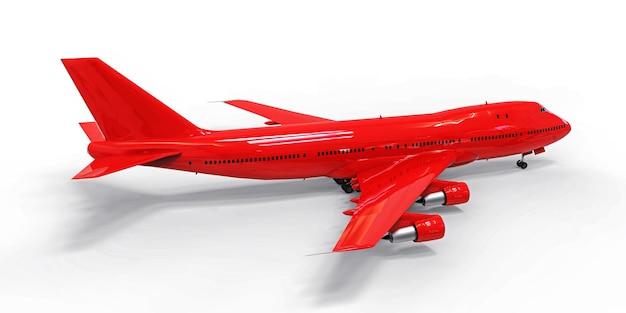 Большой пассажирский самолет большой вместимости для дальних трансатлантических перелетов. красный самолет на белом изолированном фоне. 3d иллюстрации.