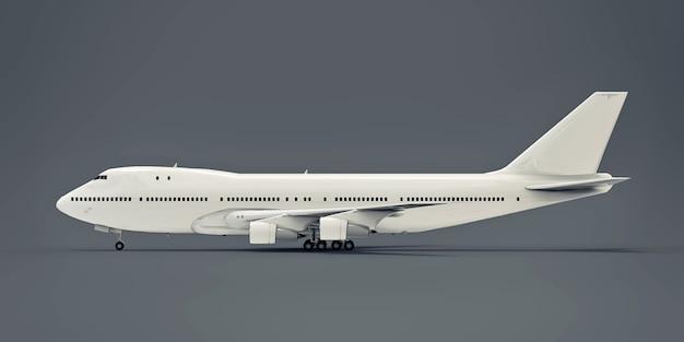 大西洋横断飛行に対応する大容量の大型旅客機。灰色の孤立した背景に白い飛行機。 3dイラスト。