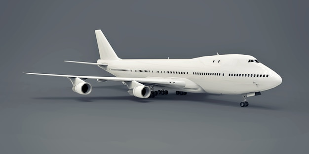 장거리 대서양 횡단 비행을 위한 대용량의 대형 여객기. 회색 격리 된 배경에 흰색 비행기입니다. 3d 그림입니다.