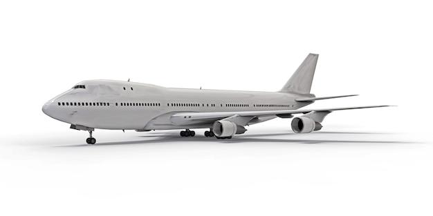 大西洋横断飛行に対応する大容量の大型旅客機。白い孤立した背景に白い飛行機。 3dイラスト。