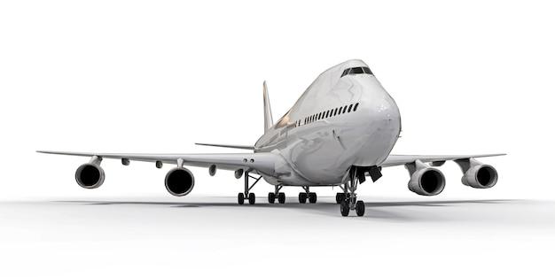 대서양 횡단 긴 항공편을위한 대용량 대형 여객기. 백색 격리 된 표면에 하얀 비행기