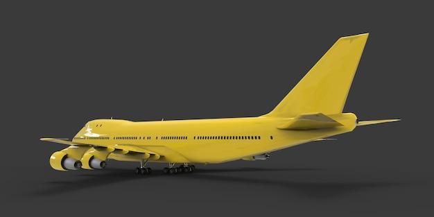 大西洋横断飛行に対応する大容量の大型旅客機。灰色の孤立した背景に黄色の飛行機。 3dイラスト。