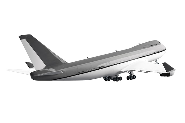 Large passenger airplane isolated on white surface