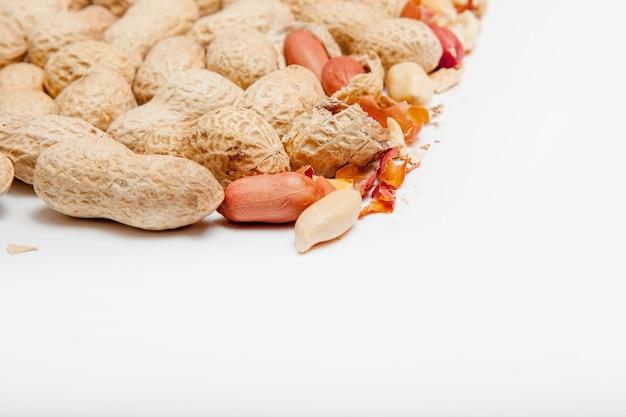 Large peeled peanuts closeup of beans